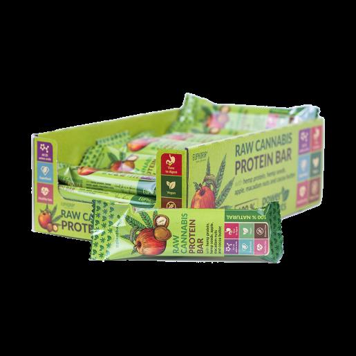Baton proteinowy RAW Cannabis Jabłko, Makadamia