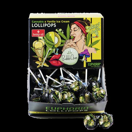 Lizaki o smaku konopi i lodów waniliowych z gumą do żucia 100 szt x 25 g BOX