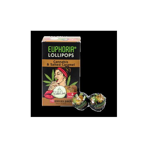 Lizaki o smaku konopi i słonego karmelu z gumą do żucia 10 szt x 25 g